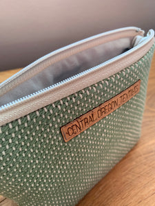 Gusseted Cosmetic Bag - Medium - Green and Beige