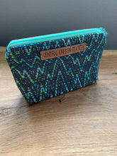 Load image into Gallery viewer, Gusseted Cosmetic Bag - Small - Teal and Grey with Mint Green Lining