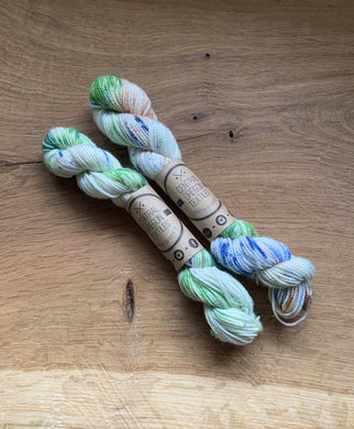 Green, blue and orange hand dyed wool
