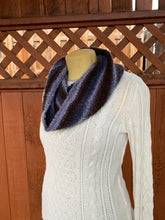 Load image into Gallery viewer, Grey and brown handwoven cowl scarf made in Bend Oregon wrapped around the neck and paired with an white sweater