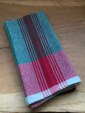 Handwoven Towel - Christmas Green and Red