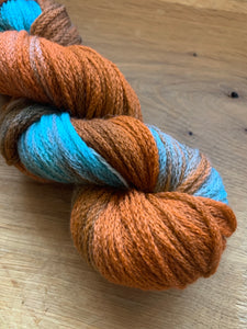 Handdyed copper and teal wool chained yarn 100 grams
