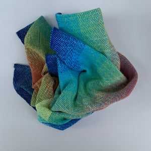 Handwoven Towel - Rainbow and Blue, White and Grey