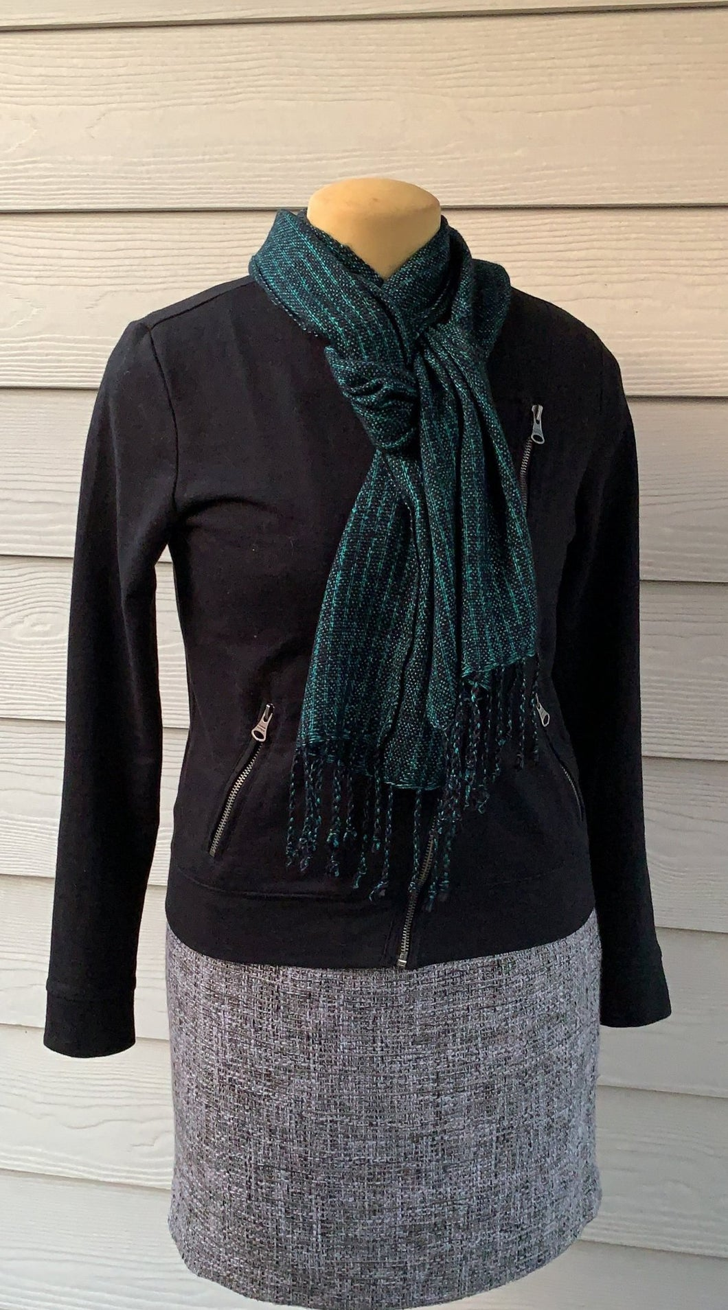Scarf - Green and Black with Tassels