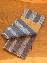 Load image into Gallery viewer, handwoven grey, blue and white cotton kitchen towel
