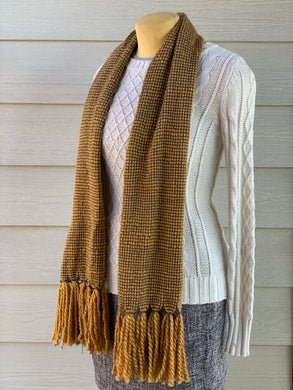 Scarf - Mustard Yellow Wool Blend & Grey Bamboo