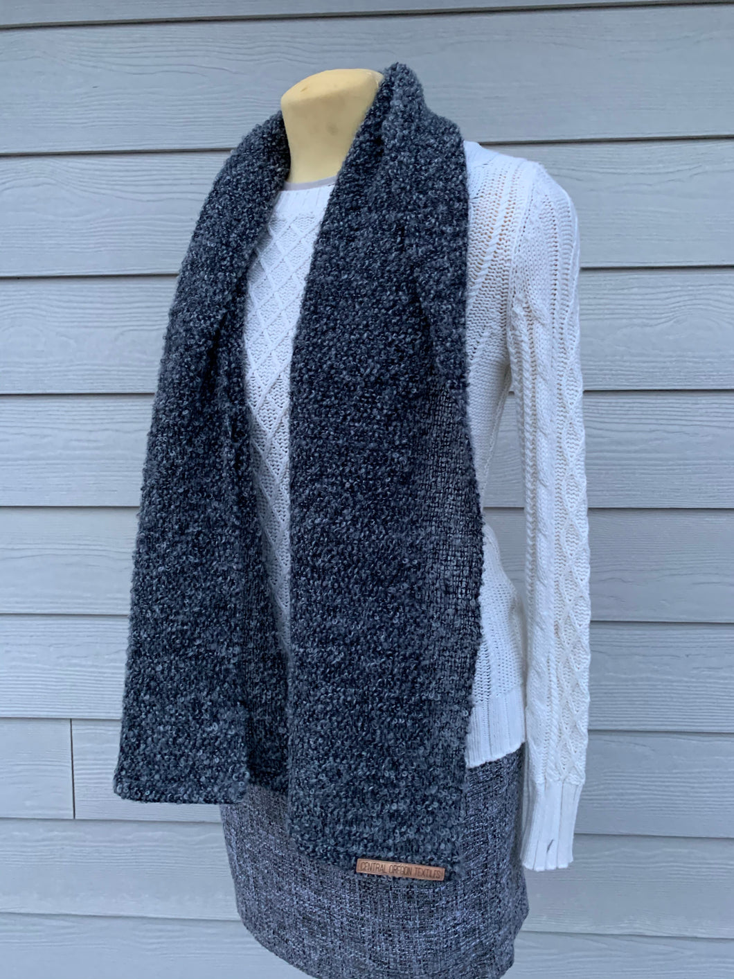 Black and Grey Bamboo and Wool Scarf