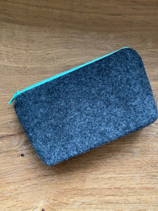 Gusseted Cosmetic Bag - Small - Teal and Grey with Mint Green Lining