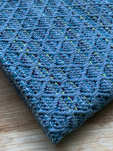 Load image into Gallery viewer, Handwoven Towel - Blue and Grey Diamonds
