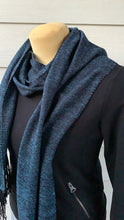 Load image into Gallery viewer, Scarf - Blue and Black with Fringe Ends