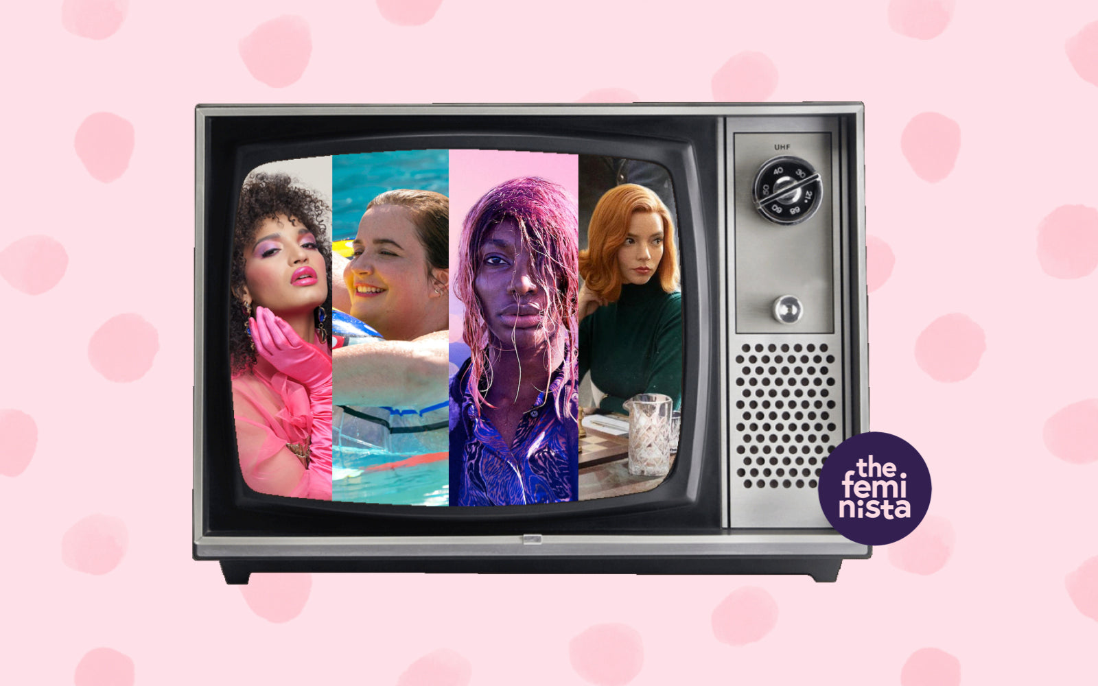 13 feminist tv shows to binge this spring, depicted on an old television on a pink polka dot background