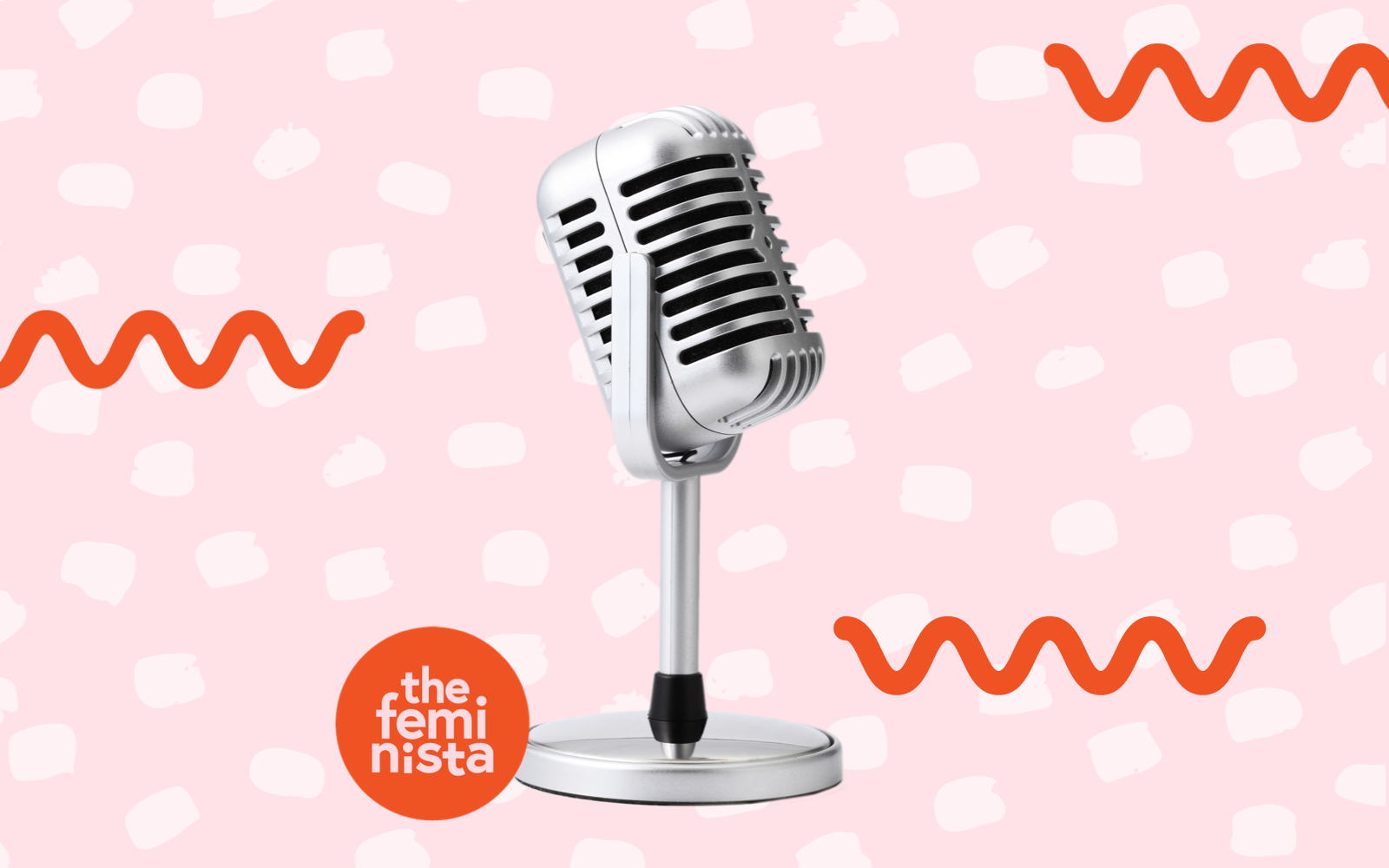 Microphone on pink background with The Feminista Logo featuring 8 feminist podcasts