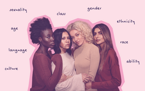 Group of feminists learning about intersectionality on pink background