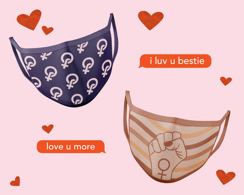 Matching feminist face masks as a galentine's day gift