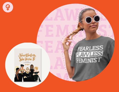 Feminist gift idea including a gray flawless feminista shirt and a coffee table book