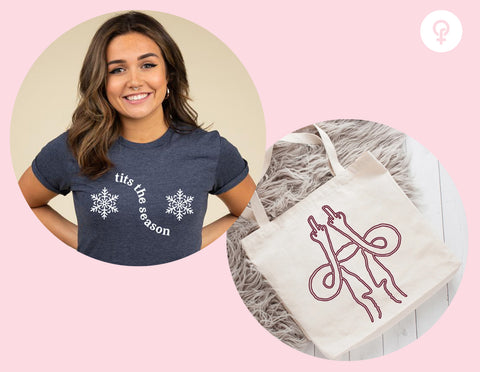 Feminist gift idea including tits the season t shirt and middle finger uterus tote bag