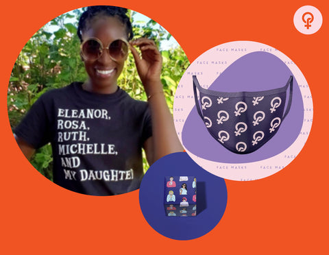 Feminist gift idea including feminist icons t shirt, Feminista mask and cute feminist wrapping paper