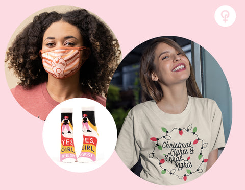 Feminist gift idea including Christmas lights & equal rights shirt, feminist mask, and cute socks