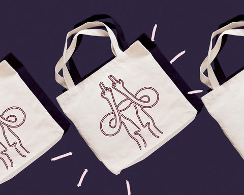 Cute uterus middle finger tote bag for Galentine's Day 2021