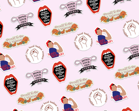Five stickers with different feminist messages and designs all in a cute gift pack