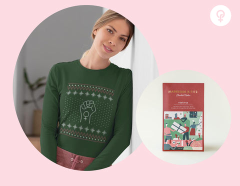 Feminist gift idea including a green holiday shirt and a chocolate bar