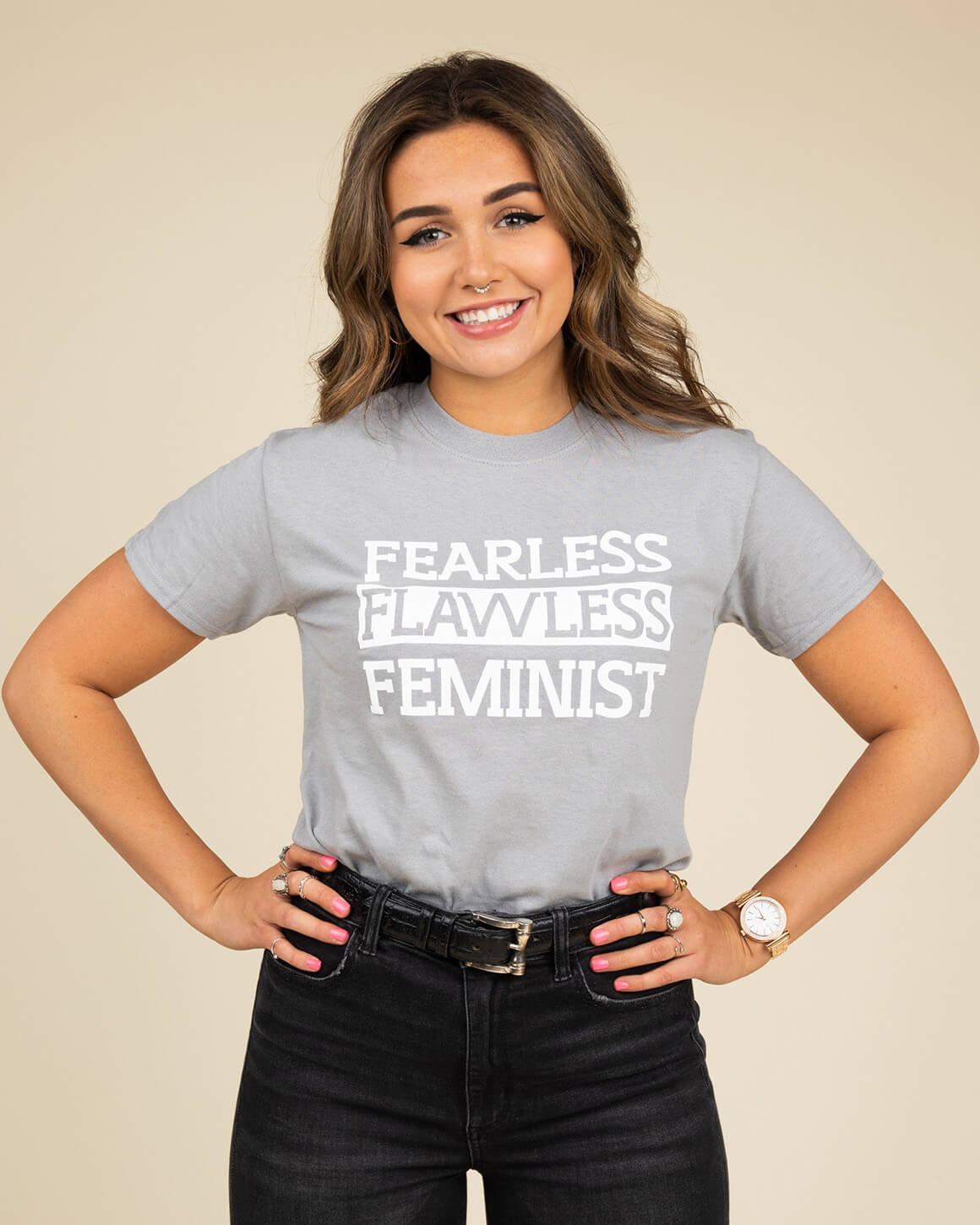 Gray women's fearless t shirt on a girl with jeans