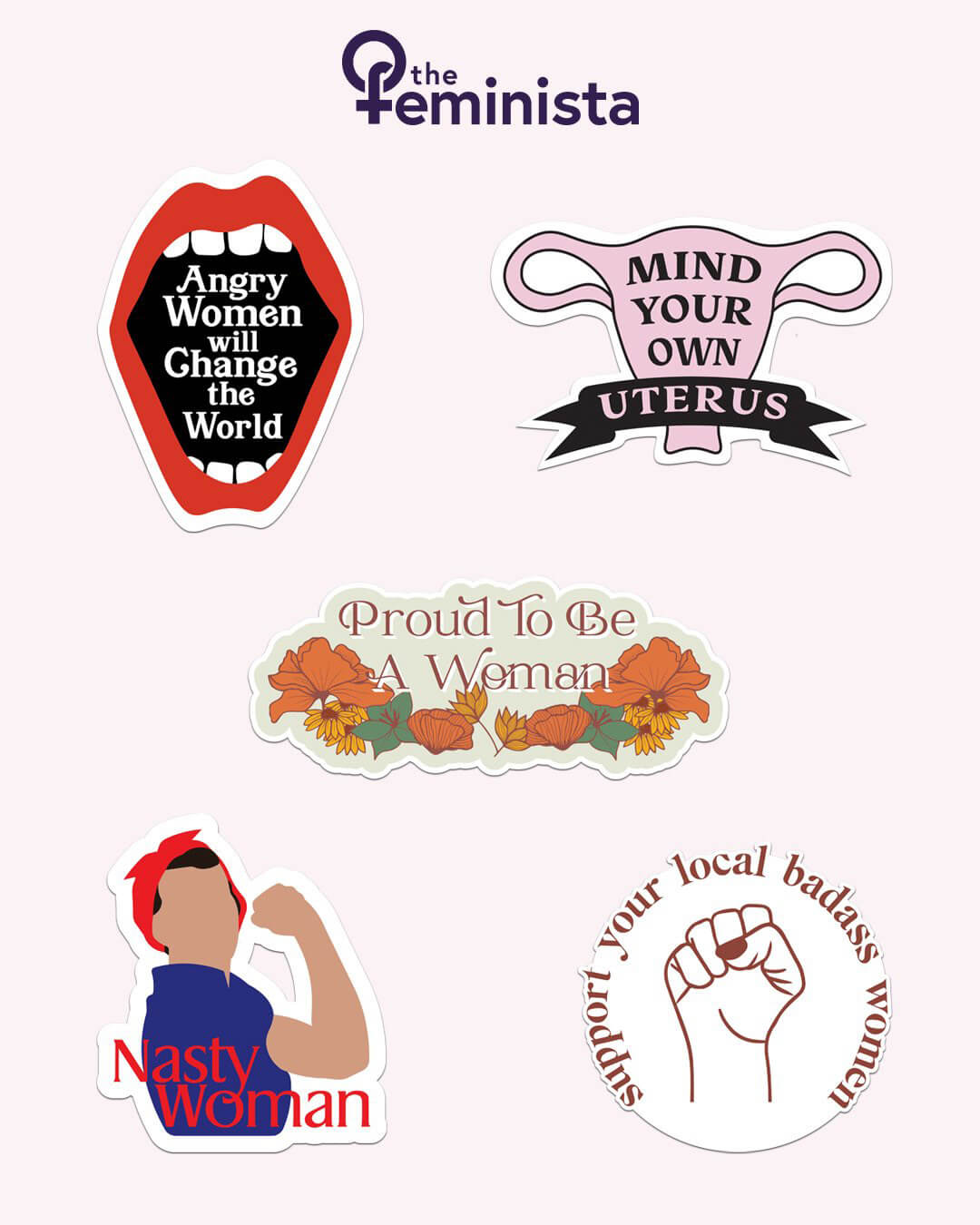 5 piece multi-color feminist sticker pack from The Feminista