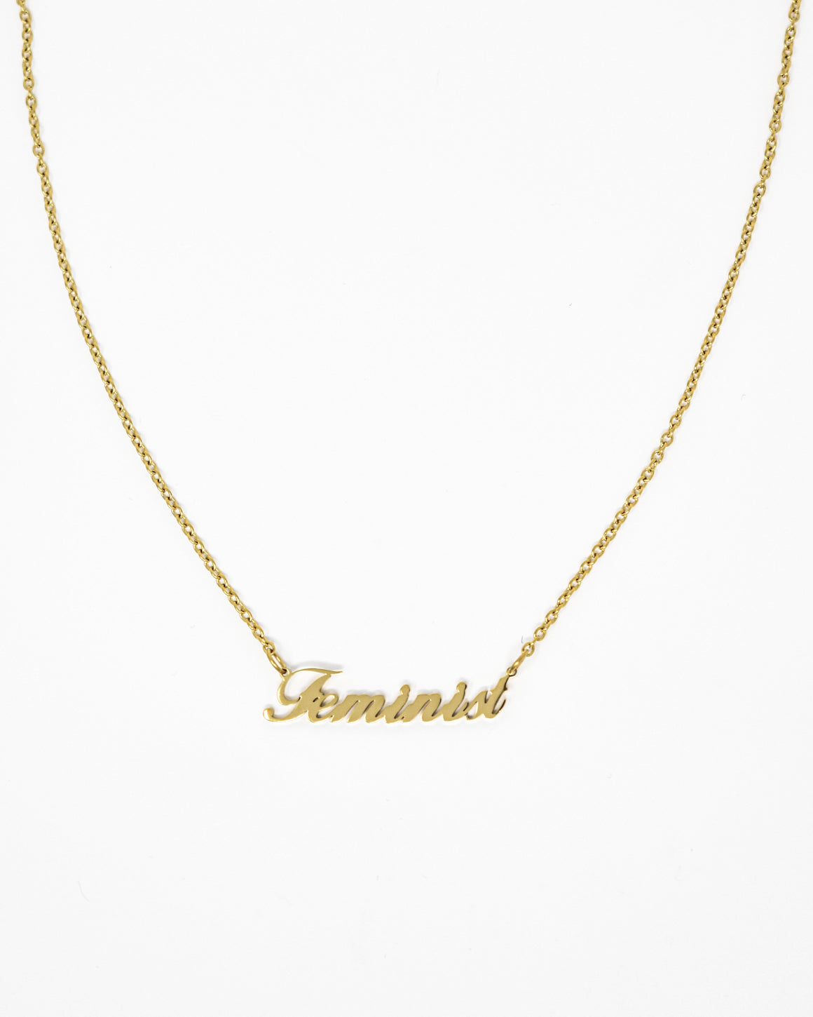 Feminist Script Gold Necklace