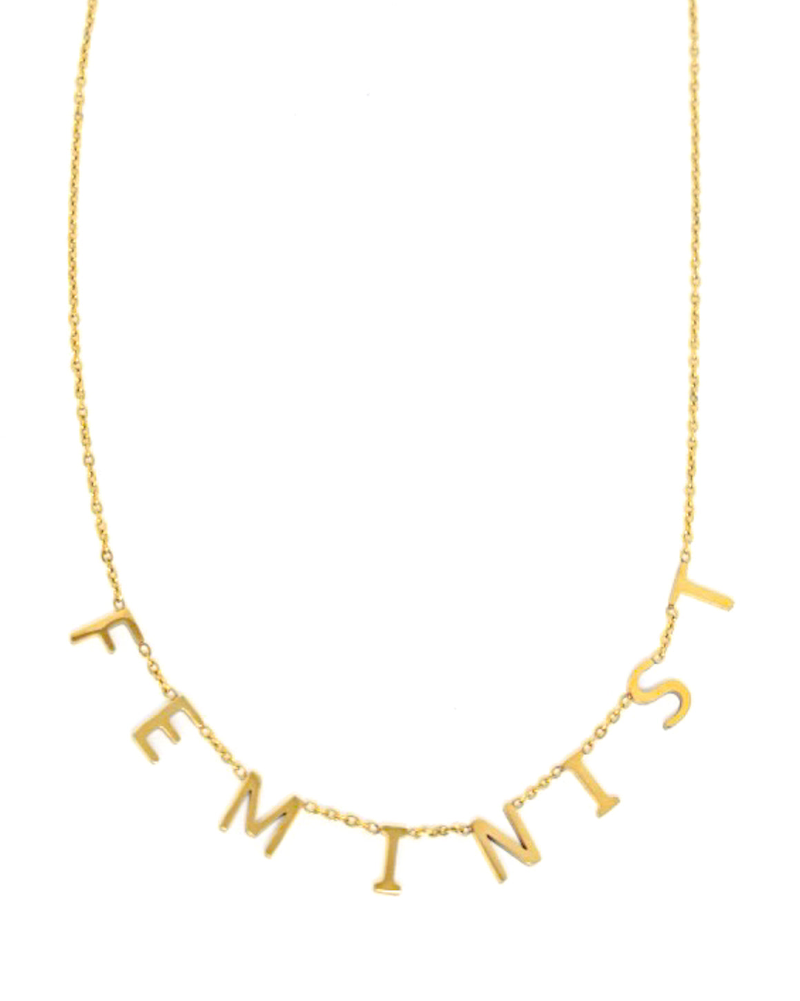 Feminist Letters Gold Necklace