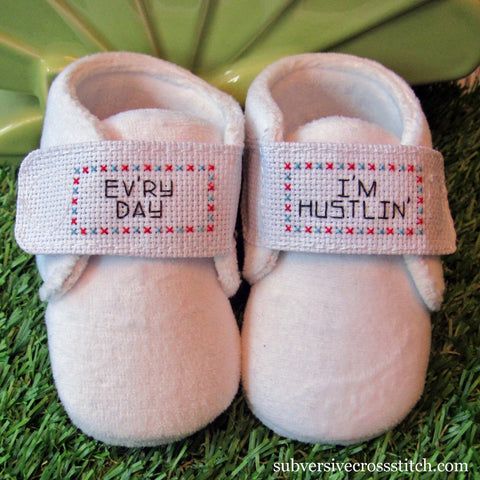PDF: Baby Booties design - Ev'ry Day I'm Hustlin'