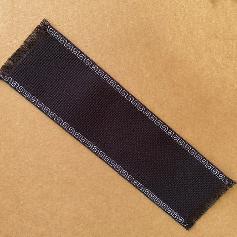 Black Bookmark with White Stitched Edging