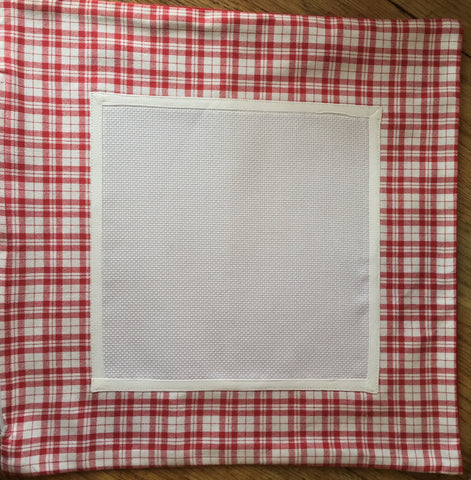 Stitchable Red Plaid Square Pillow Case