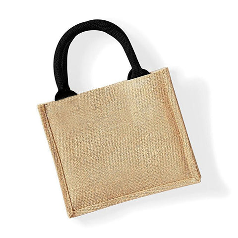 Stitchable Jute Bag with Black Handle