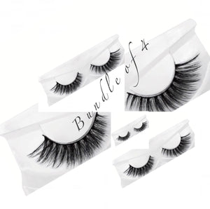 Natural 3D Mink Lashes Bundle Of 4