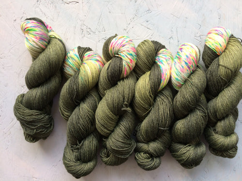 Neon Camo - BFL Bamboo - 4ply