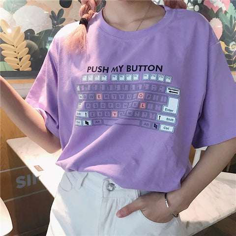 1646a78a 2018 New Harajuku Korean Loose Summer Tshirt Keyboard Graphic Printed Tee  Women Tops Female Tumblr Funny