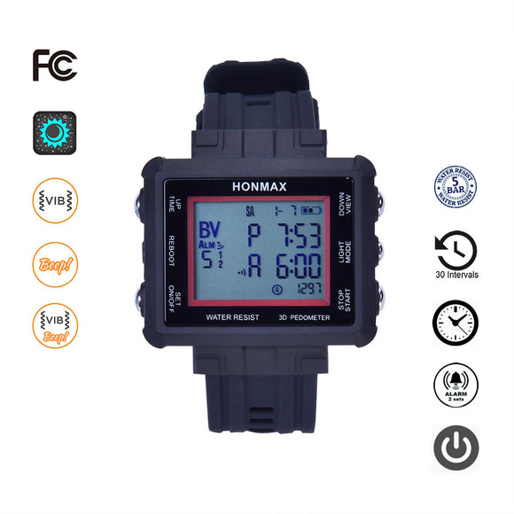 honmax 30 Different Intervals Waterproof Interval Timer Watch -3D Pedometer