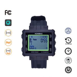 honmax 30 Different Intervals Water Resist Interval Watch - 3D Pedometer-BLK/Green