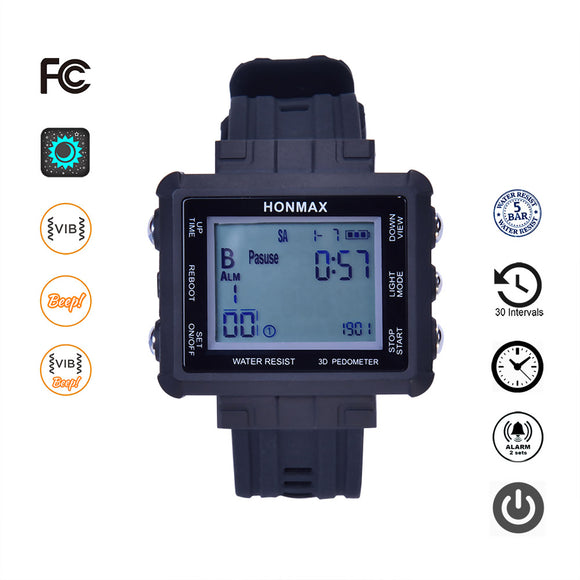 honmax 30 Different Intervals Water Resist Interval Watch - 3D Pedometer-BLK/Gray