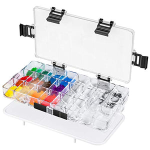 Paint Pallet Tray 24-Well Airtight Paint Palette Stay Wet for Watercolors, Gouache, Acrylic, Oil Paint, by HETHRONE