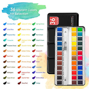 Watercolor Paint Set - 36 Vivid Colors Watercolor Half Pans in Tin Box with Refillable Water Brush Pen for Art Painting, Artists, Beginner Painters