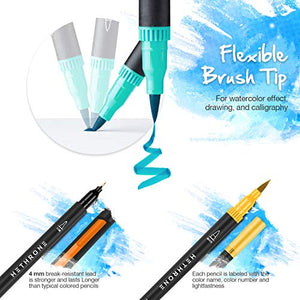 100 Colors Dual Brush Pens with 0.4mm Fine-Liner Tip and Highlighter Brush