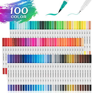 100 Colors Dual Tip Art Pens with 0.4mm Fine-Liner Tip and Highlighter Brush