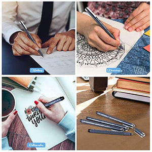 Hethrone Calligraphy Pens, Hand Lettering Pens and Black Calligraphy Set for Beginners Writing, Signature, Illustration Design and Drawing (8 Size)