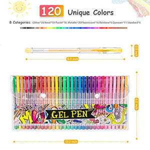 Hethrone 120 Glitter Gel Pen Set, Unique Colors Art Markers Pens for Adult Coloring Books Craft Doodling Drawing Writing Bullet Journal Scrapbook
