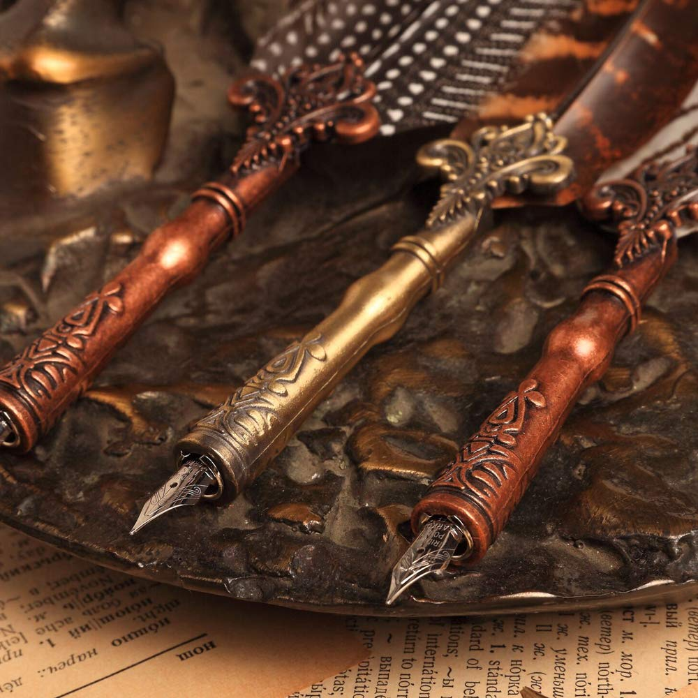 Quill Pen Natural pattern Feather Calligraphy Dip Ink Pen ...