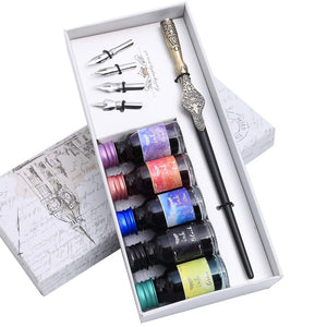 Wooden Calligraphy Dip Pen Set Gift Writing Set with 5 Bottles of Ink