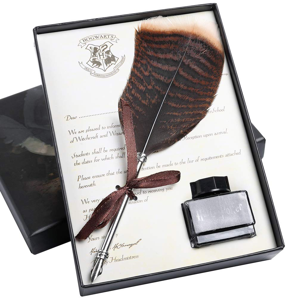Quill Pen and Ink Set Antique Feather Calligraphy Pen Gift ...