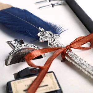 Feather Dip Pen Set with 5 Replaceable Nibs & Pen Holder & Ink in Gift Box