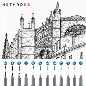 Hethrone Hand Lettering Pens Calligraphy Brush Pen Set 12 Size Micro-Pen Fineliner Ink Pens Art Markers for Beginners Writing, Sketching, Illustration, Bullet Journaling